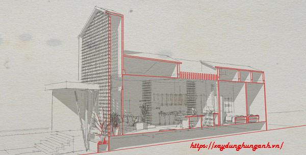 bản vẽ cải tạo nhà 1 tầng thành 2 tầng tại Hùng Anh