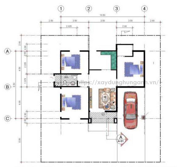 xây Nhà ống 2 tầng 3 phòng ngủ