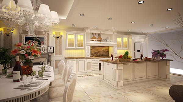 Mẫu nhà bếp phong cách tân cổ điển