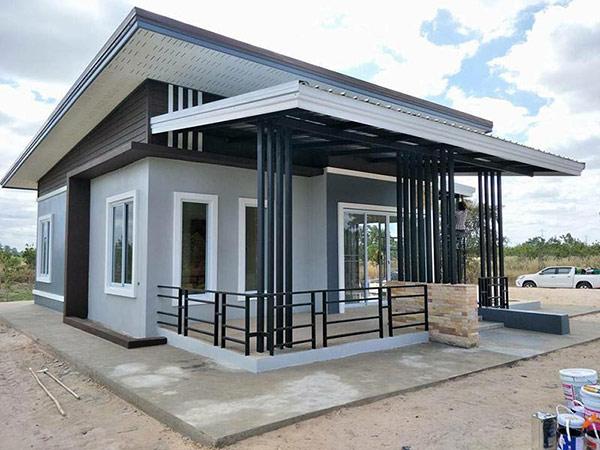 Thiết kế nhà cấp 4 giá rẻ 200 triệu với mái lệch