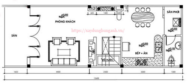 Thiết kế nhà cấp 4 có gác lửng 4x12m