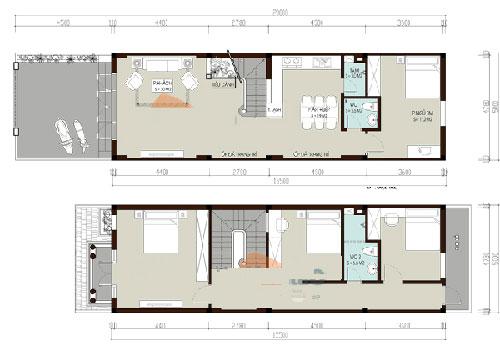 File cad bản vẽ nhà phố 2 tầng 5x20