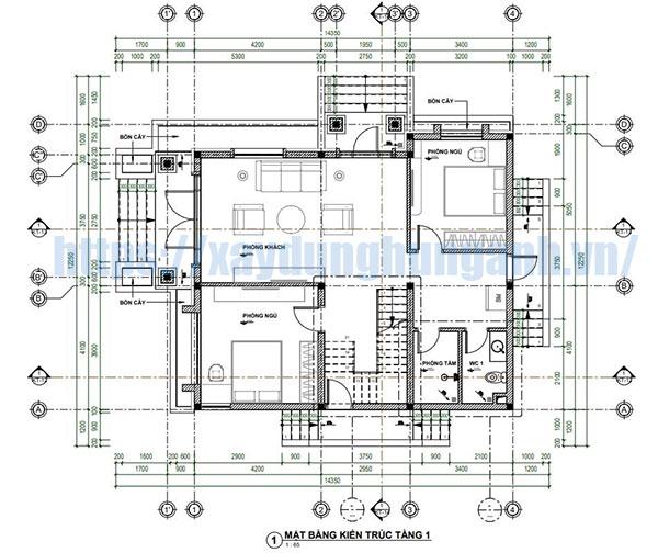 Bản vẽ mặt bằng tầng 1 nằm trong hồ sơ thiết kế biệt thự 2 tầng full