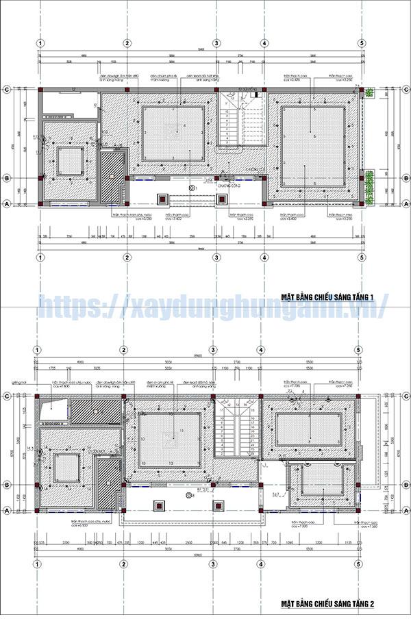 Phần điện của bản vẽ biệt thự 2 tầng full đầy đủ