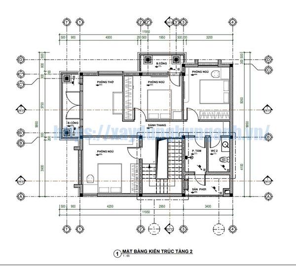 Bản vẽ mặt bằng tầng 2 biệt thự 2 tầng đầy đủ