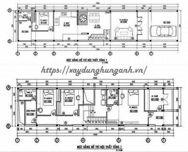 Bản vẽ cad nhà 2 tầng 5x20 4 phòng ngủ giá rẻ