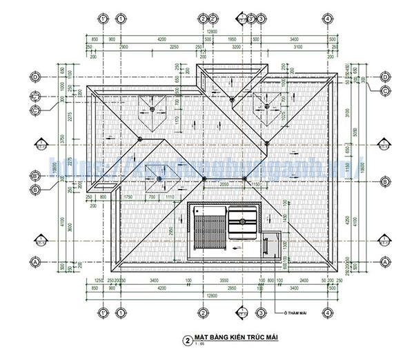 download bản vẽ cad nhà 2 tầng mái thái
