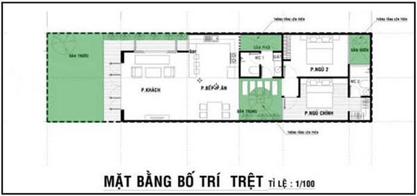 Bản vẽ nhà cấp 4 mái bằng 2 phòng ngủ