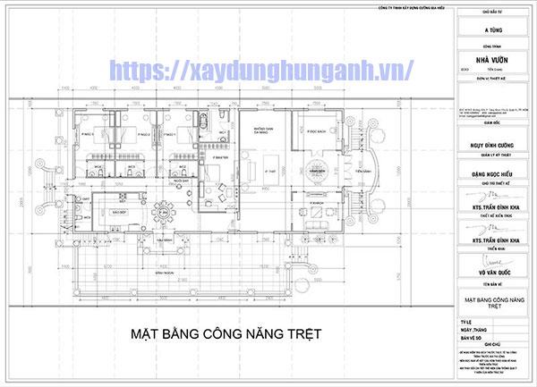 Bản vẽ mẫu biệt thự kiểu pháp 1 tầng 4 phòng ngủ