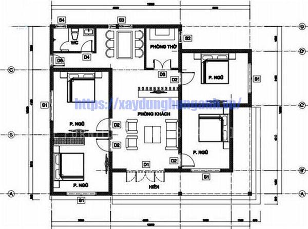 Bản thiết kế mẫu nhà biệt thự 1 tầng mái thái đẹp