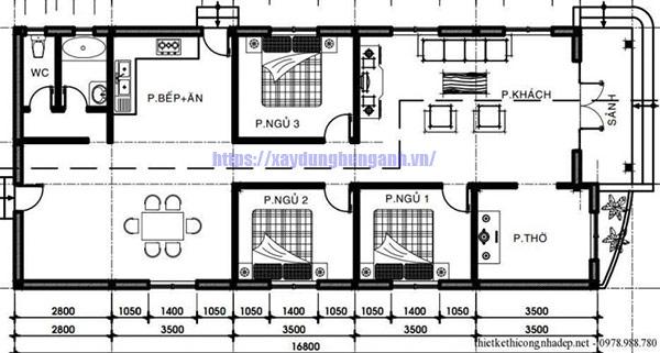 Bản nhà cấp 4 ngang 6m dài 17m 3 phòng ngủ