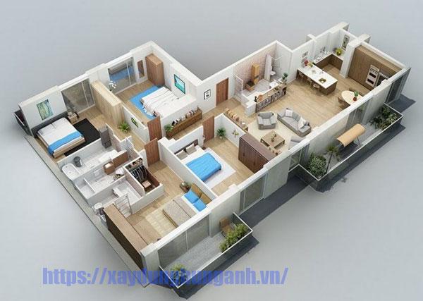Bản vẽ thiết kế nhà vườn 1 tầng 4 phòng ngủ chữ L