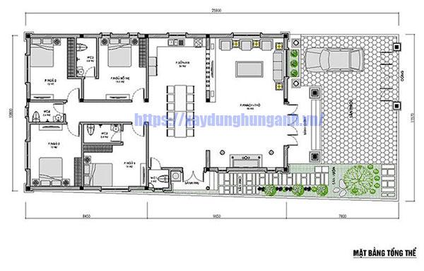 Bản vẽ biệt thự 1 tầng 4 phòng ngủ có gara
