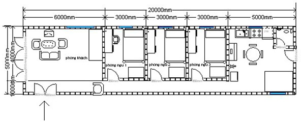 Bản vẽ nhà cấp 4 mái bằng 3 phòng ngủ