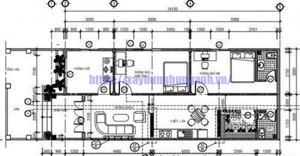 Bản vẽ thiết kế nhà cấp 4 ngang 6m dài 15m