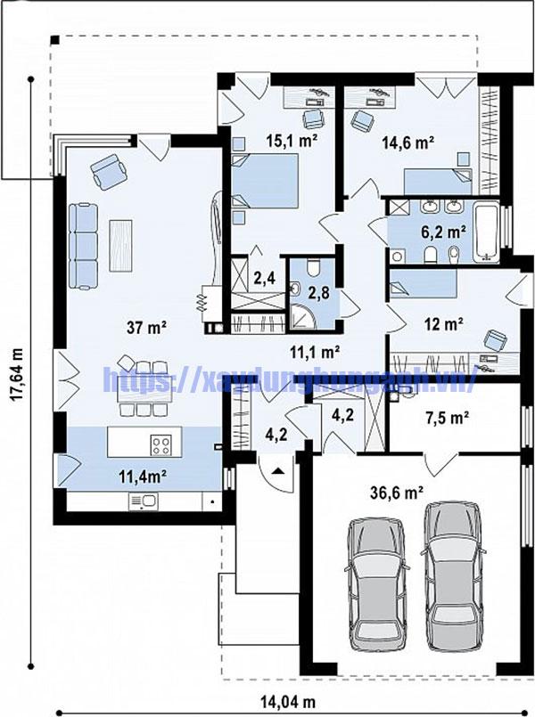 Bản vẽ biệt thự 1 tầng 3 phòng ngủ phong cách châu Âu