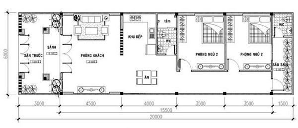 Bản vẽ thiết kế nhà cấp 4 ngang 6m dài 20m