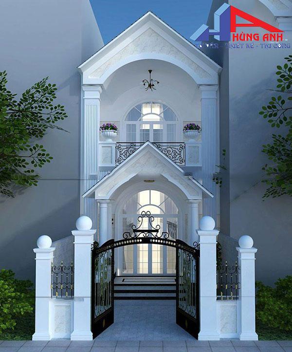 Mẫu nhà đẹp 2 tầng 5×20 tân cổ điển Mẫu thiết kế nhà ống 5×20 kiểu cổ điển đẹp đầu tiên mà chúng tôi muốn giới thiệu đến bạn là một mẫu nhà ống 2 tầng. Ngôi nhà được thiết kế với những đường nét hoa văn mềm mại cùng đường cong uốn lượn của mái vòm tạo nên một không gian vô cùng nổi bật và cuốn hút mà bất kỳ ai đi ngang cũng phải ngoái nhìn. Ngôi nhà được bao trùm bởi gam màu trắng sáng kinh điển cùng với những điểm nhấn gạch ốp tường vàng tinh tế.