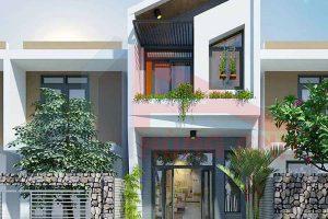 Bản vẽ thiết kế và dự toán xây nhà 2 tầng có gác lửng 5x10m