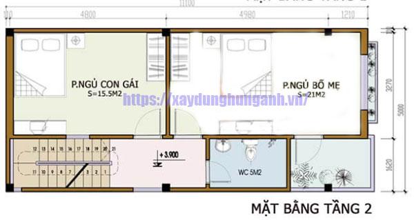 Bản vẽ cad nhà 5x10m tầng 2