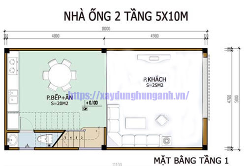 Bản vẽ thiết kế nhà 2 tầng 5x10m tầng 1