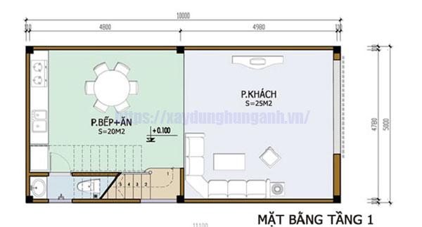Bản vẽ nhà 2 tầng 3 phòng ngủ 5x10 tầng 1