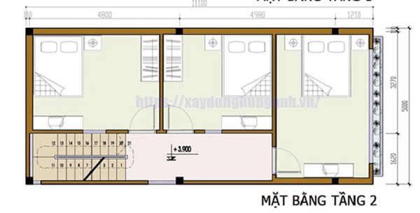 Bản vẽ nhà 2 tầng 3 phòng ngủ 5x10 tầng 2