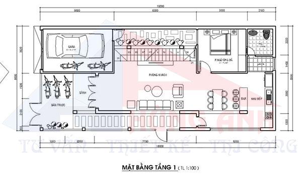 Thiết kế nhà 2 tầng 2 mặt tiền