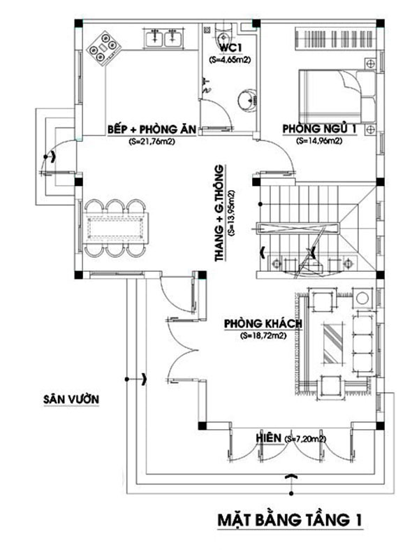 Mẫu nhà 2 tầng 4 phòng ngủ 120m2 chữ L