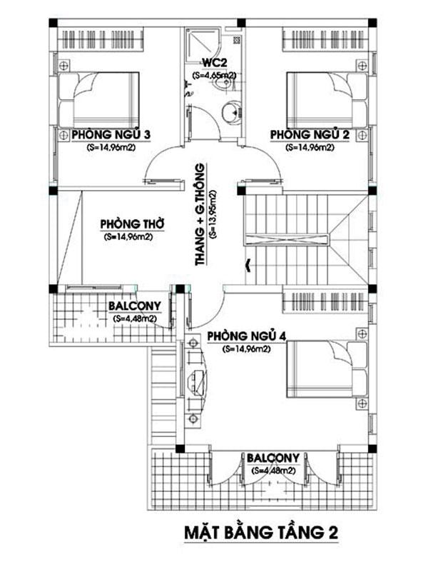 bản vẽ tầng 2 nhà 2 tầng 4 phòng ngủ 120m2 chữ L