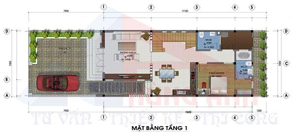 nhà 2 tầng hiện đại mặt tiền 7m