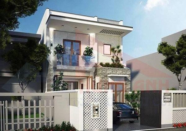 xây nhà 2 tầng mái bằng đơn giản