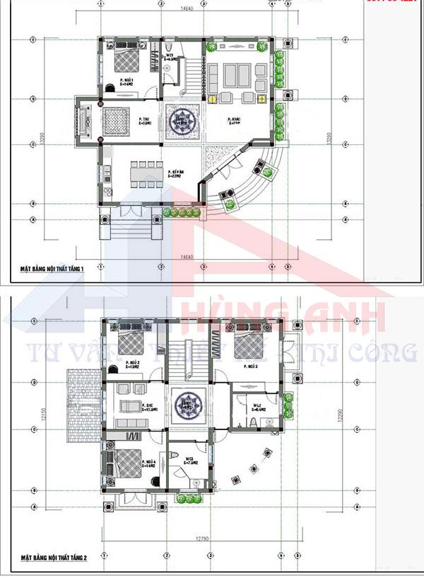 Mặt bằng biệt thự 2 tầng 4 phòng ngủ