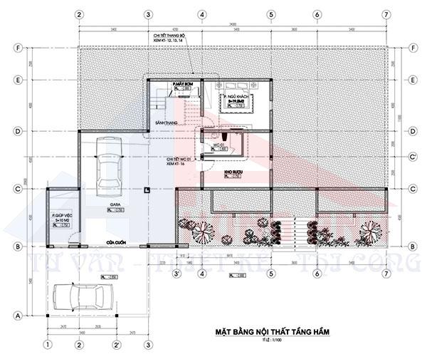 Bản vẽ nhà 2 tầng hiện đại 1 hầm