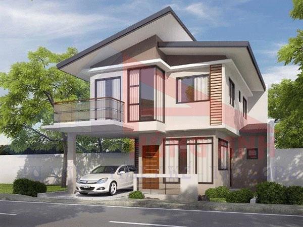 Thiết kế nhà 2 tầng 4 phòng ngủ mái lệch