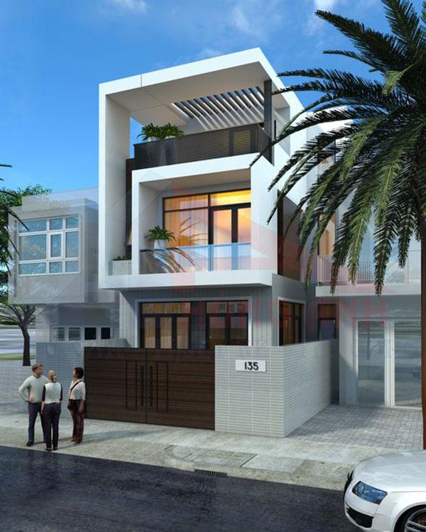 Mẫu thiết kế nhà 2 tầng mái bằng 1 tum