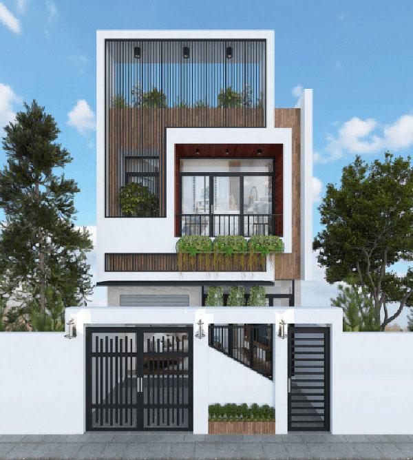 Mẫu nhà 2 tầng mái bằng đẹp hiện đại
