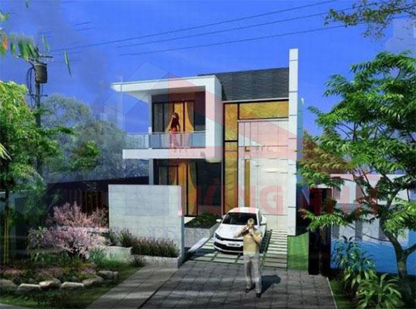 Mẫu thiết kế nhà 2 tầng 7x13m mái bằng
