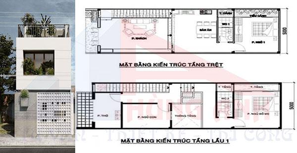 Mẫu thiết kế nhà 2 tầng 5x15m 2 phòng ngủ