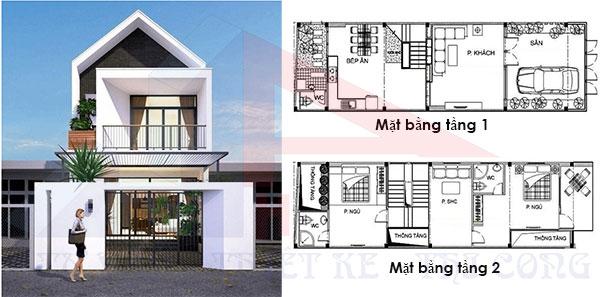 nhà 2 tầng hiện đại 2 phòng ngủ