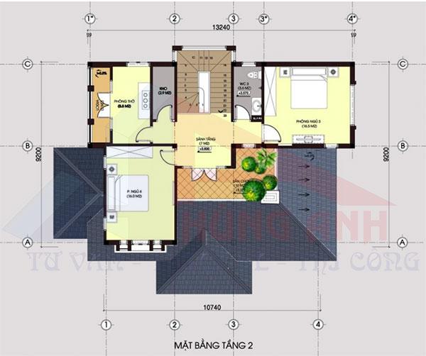 Nhà 2 tầng hiện đại 3 phòng ngủ tầng 2