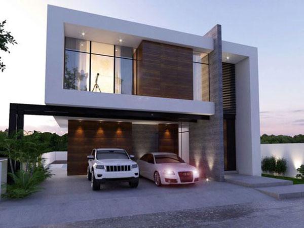 mẫu nhà 2 tầng mái bằng đơn giản
