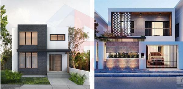 Mẫu nhà 2 tầng mái bằng hiện đại