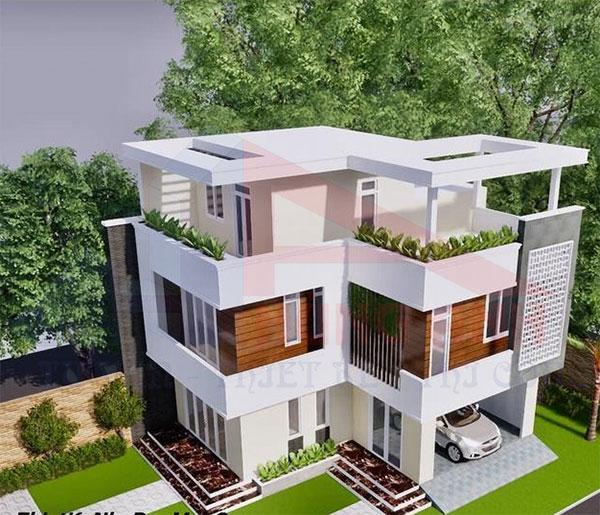 Mẫu nhà 2 tầng chữ l mái bằng có sân thượng