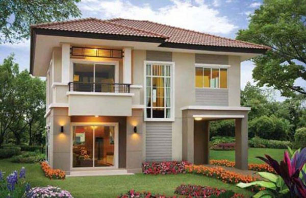 Mẫu nhà 2 tầng mái thái 8x8