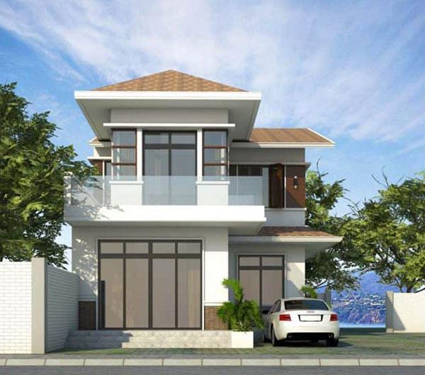 Mẫu nhà 2 tầng mái thái hình chữ l