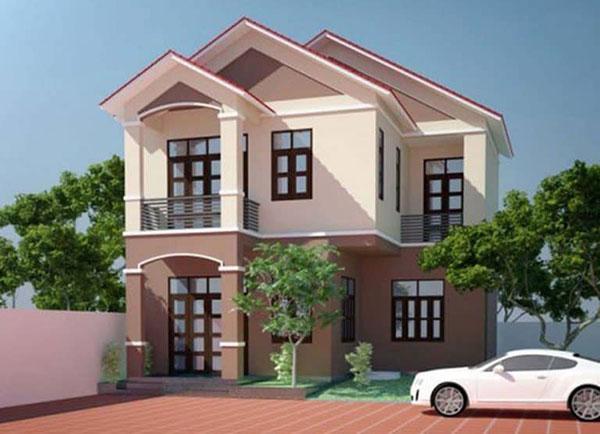 Thiết kế nhà 2 tầng mái thái giật cấp