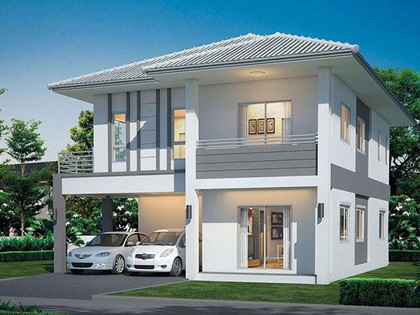 Mẫu nhà 2 tầng mái thái 8x10
