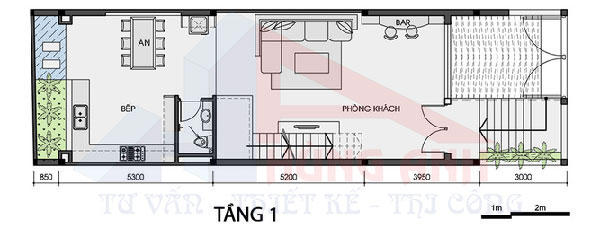 thiết kế nhà 2 tầng 1 hầm 5×20 tầng 1-2