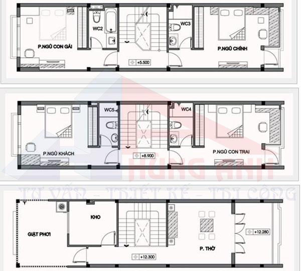 thiết kế nhà 2 tầng 1 hầm 5×20 tầng thượng